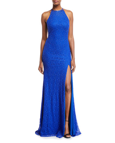 Beaded Cutout-Back Halter Gown
