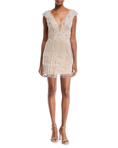 Metallic V-Neck Illusion Dress w/ Fringe Skirt