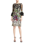 Butterfly-Embroidered Lace Trumpet-Sleeve Dress