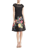 Illusion Lace Cocktail Dress w/ Floral-Print Satin Skirt