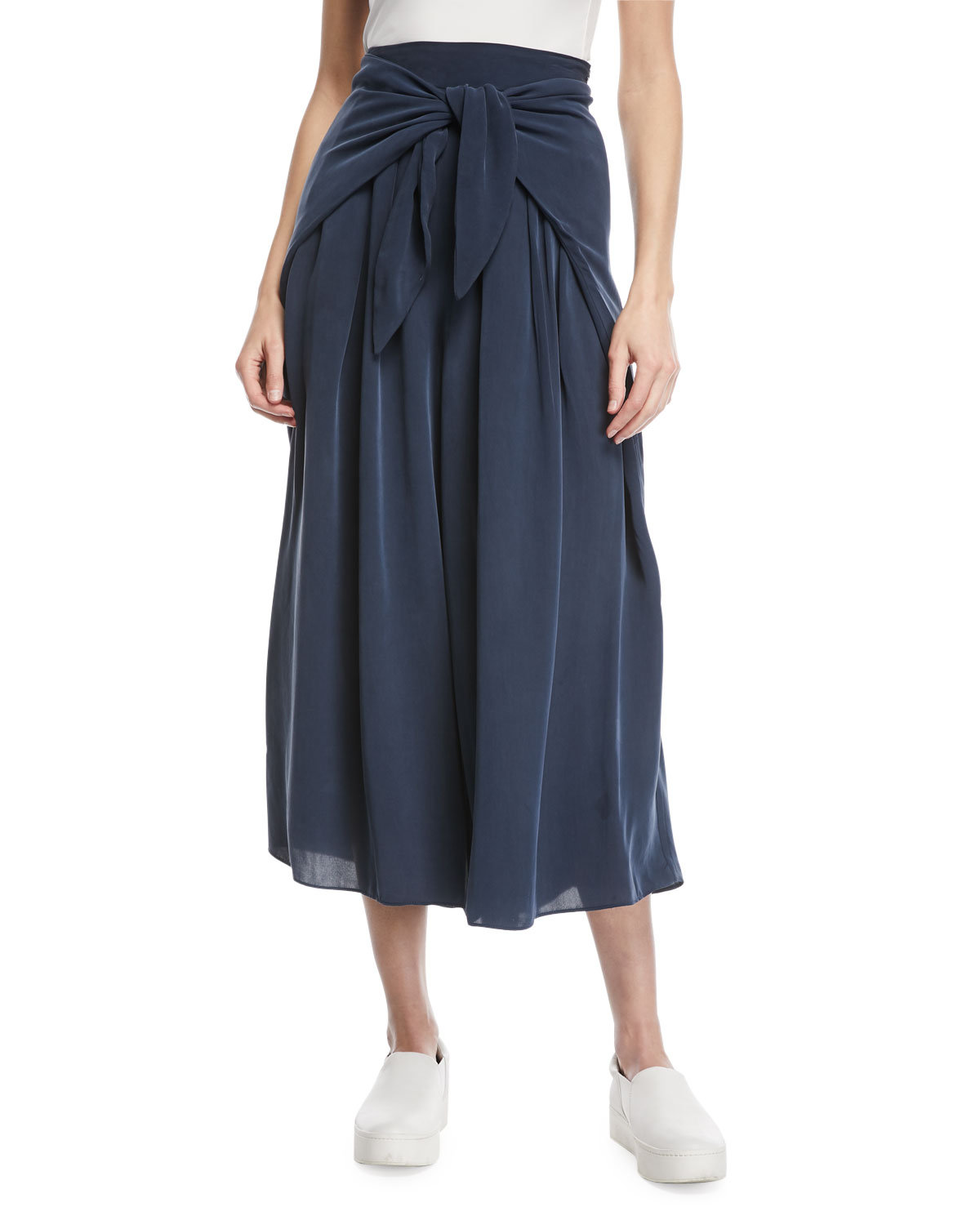 Cropped Pants with Sarong Waist Detail
