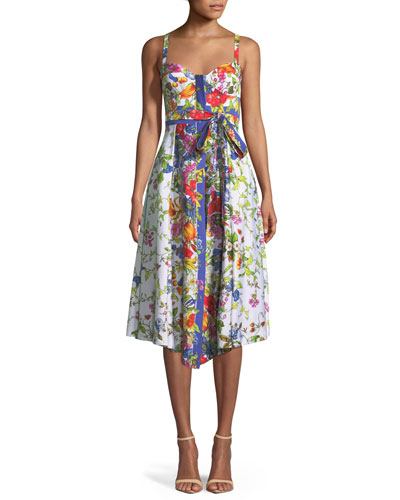 Floral Sleeveless Bustier Midi Dress