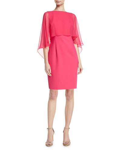 Silk Chiffon Cape-Sleeve Cocktail Dress