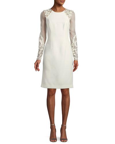 Crepe Illusion-Sleeve 3D Mesh Dress