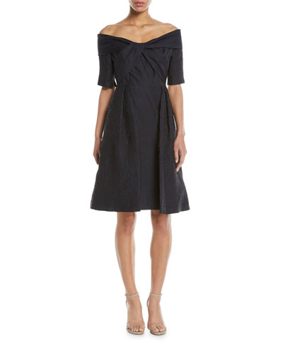 Off-the-Shoulder Cloque Cocktail Dress w/ Full Skirt
