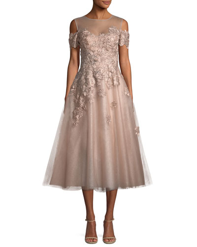 Organza 3D Embellished Illusion Gown