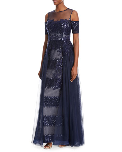 Embellished Sequin Tulle Illusion Gown