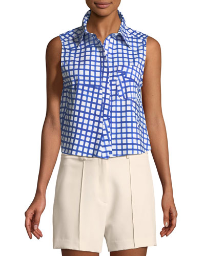 Leah Window-Check Sleeveless Top