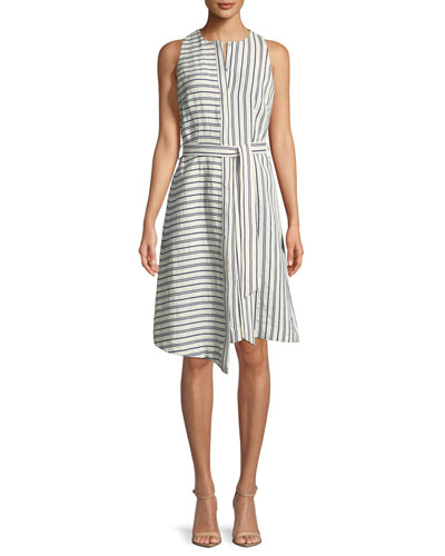 Morgan Narrow-Stripe Sleeveless Dress
