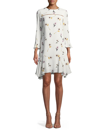 Michie Floral Crepe A-Line Dress