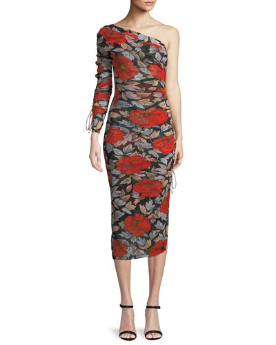 Diane Von Furstenberg  FLORAL RUCHED ONE-SLEEVE COCKTAIL DRESS