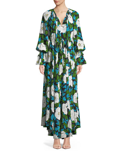 Long-Sleeve Floral Cinch Maxi Dress
