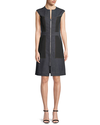 Tailored Sleeveless Zip-Front Dress