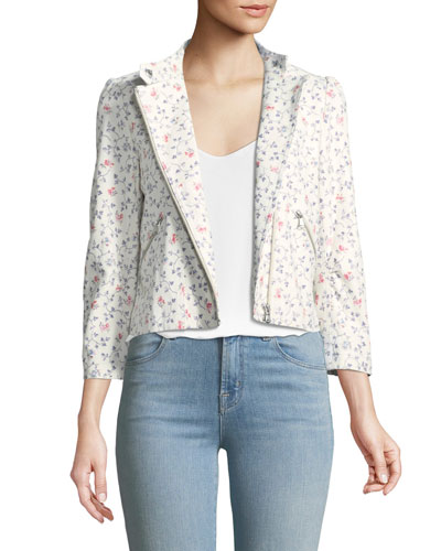 Vine Floral-Print Leather Moto Jacket