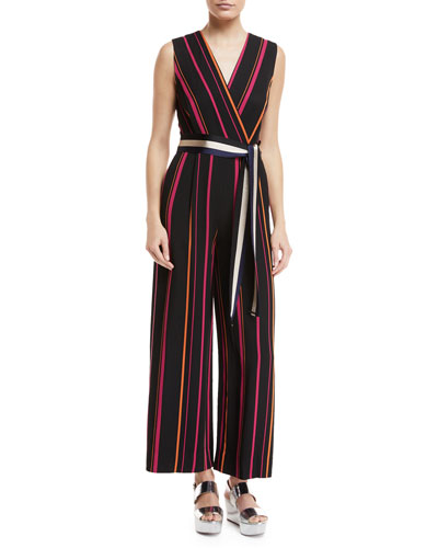 Sleeveless Crossover Wide-Leg Striped Jumpsuit