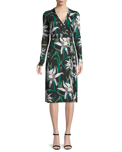Cybil Lily Floral-Print Silk Wrap Dress