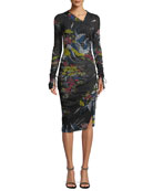Long-Sleeve Ruched Floral-Print Body-Con Dress