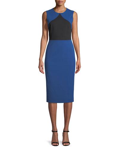 Colorblock Sleeveless Sheath Midi Dress