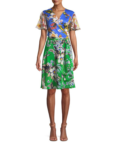 Flutter-Sleeve Floral-Print Silk Wrap Dress