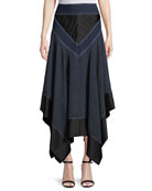 Midi Handkerchief Square-Hem Skirt