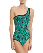 Paisley-Print One-Shoulder Swimsuit