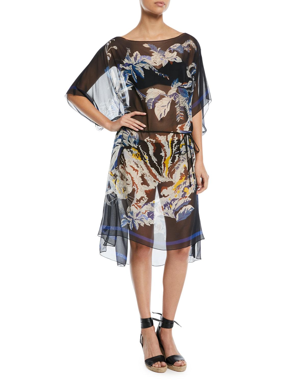 Jungle-Print Sheer Silk Kaftan