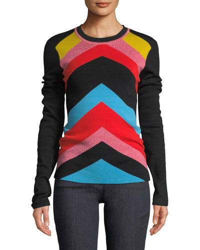 Rainbow Chevron-Stripe Crewneck Sweater