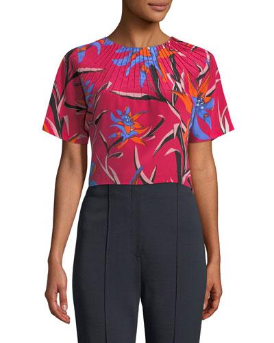Short-Sleeve Pintuck Floral-Print Silk Crop Top