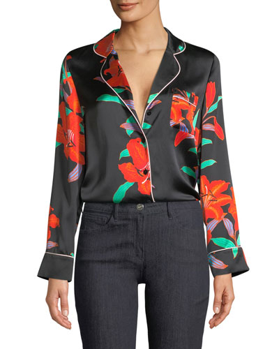 Long-Sleeve Silk Pajama Top