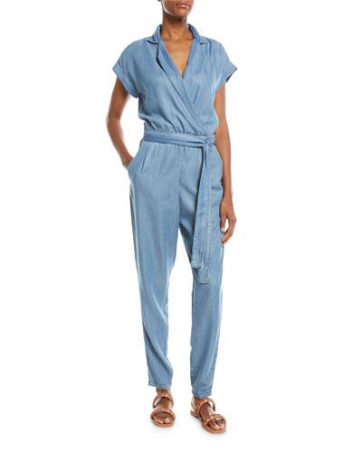 Short-Sleeve Wrap-Front Skinny-Leg Chambray Jumpsuit