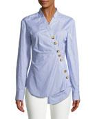Jones Asymmetric Striped Cotton Shirt