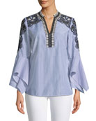 Skylyn Lace-Trim Striped Blouse