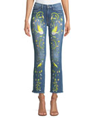 Embroidered Straight-Leg Jeans w/ Raw-Edge Hem