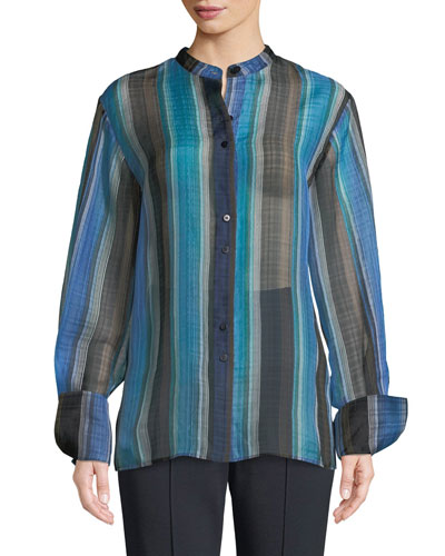 Wide-Sleeve Striped Silk Button-Up Top