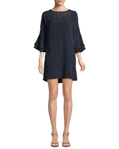 Fatima Lace-Yoke Silk Dress