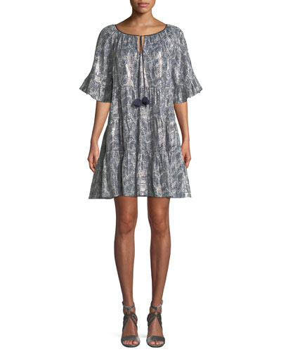 Adonia Metallic-Print Silk-Blend Dress
