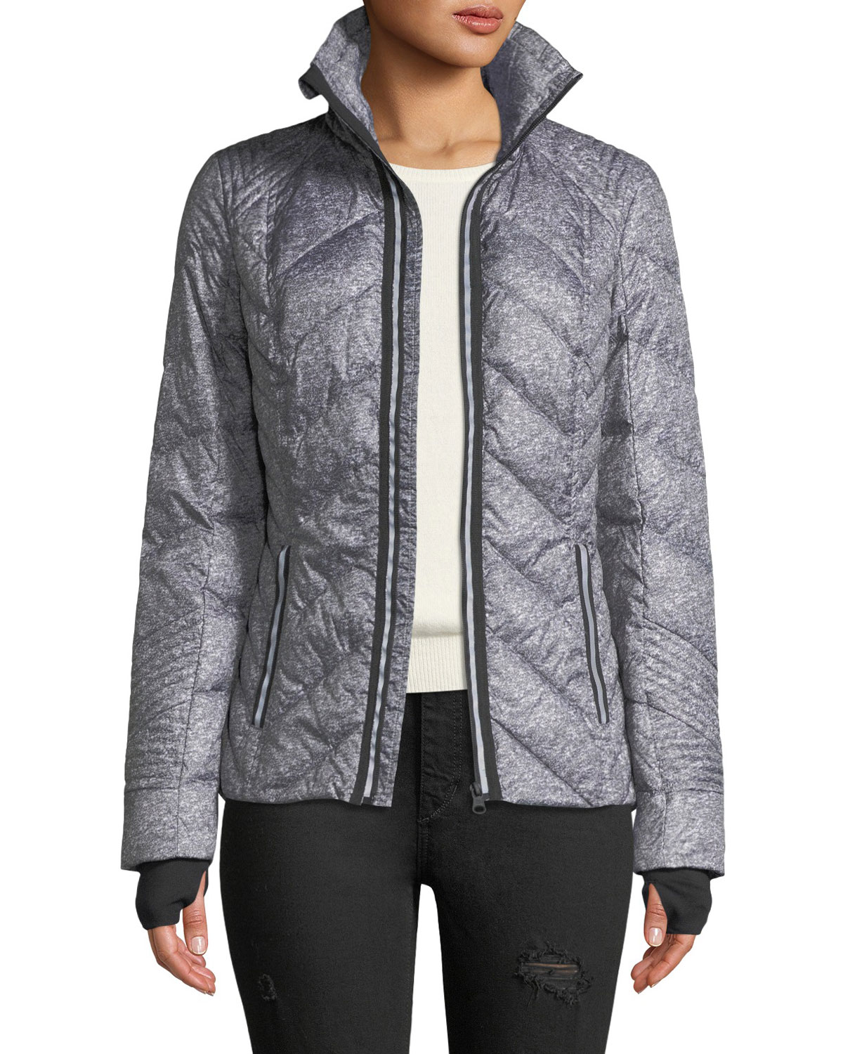 Metallic Zip-Front Quilted Puffer Jacket with Reflective Trim