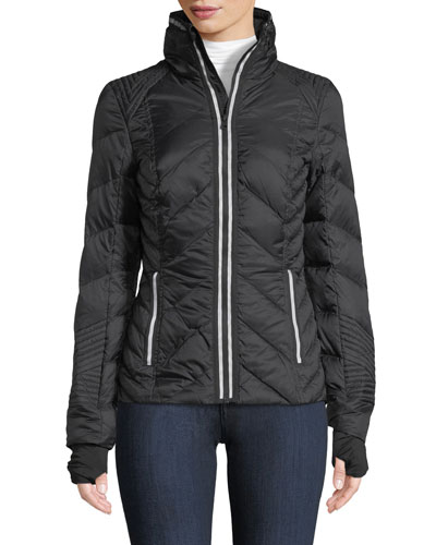 Blanc Noir Zip-Front Quilted Puffer Jacket with Reflective Trim