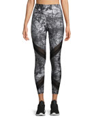High-Waist Abstract-Print Sporty Leggings with Mesh