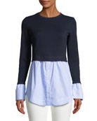 Berdine Contrast Long-Sleeve Sweater