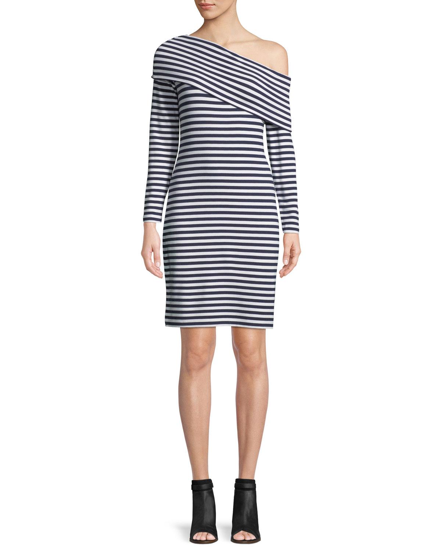 667067ec58ff0 Skarlie One-Shoulder Long-Sleeve Striped Dress