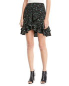 Ampey Floral-Print Mini Skirt