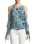 Flea Market Open-Sleeve Printed Chiffon Top