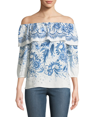 Farmers Market Off-the-Shoulder Printed Cotton Top