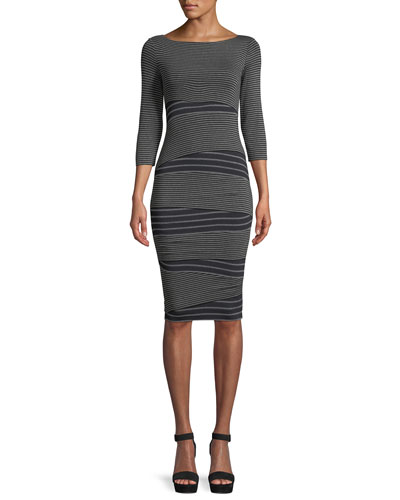 Arcade Crewneck 3/4-Sleeve Striped Knit Dress
