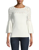 Street-Fair Round-Neck Knit Top with Distressing