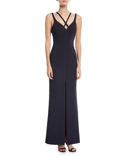 Leslie Strappy V-Neck Front-Slit Gown