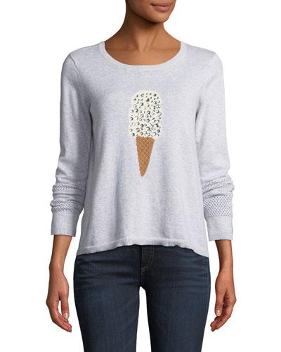 Lickety Split Ice Scream Intarsia Sweater, Plus Size