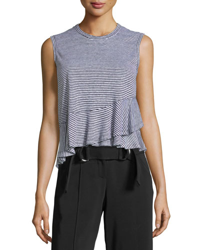 Braxton Crewneck Sleeveless Striped Linen Tee