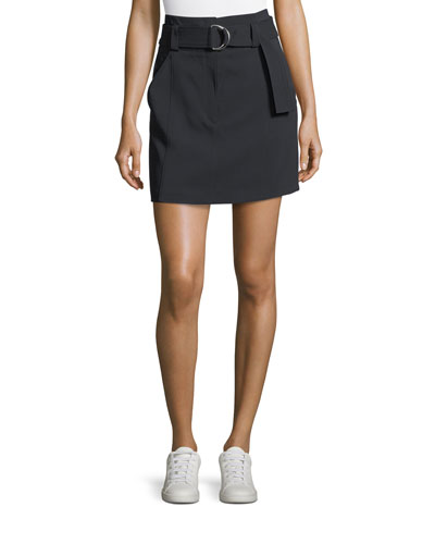 Bronx Belted Straight Wool-Blend Skirt